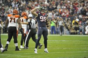 JJ Watt saluting after a sack (picture via www.footballzebras.com)