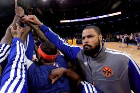 Knicks team huddle