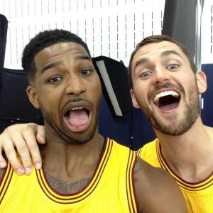 Tristian Thompson and Kevin Love enjoying a light moment together. Love's decision could end up with one of these two leaving town. (photo courtesy of www.nbatitlechase.com)