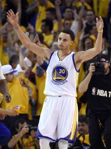 Steph Curry pumping up the crowd as the Warriors take the Cavaliers in Game 5 of the NBA Finals. (photo courtesy of www.usatoday.com)