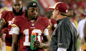 Robert Griffin III and Jay Gruden have meshed together about as well as oil and water. (photo courtesy of CBS Sports)