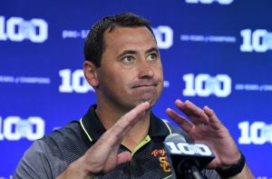 Steve Sarkisian has a lot of questions to answer after his drunken moment at a USC event. (photo courtesy of www.fansided.com)