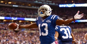 TY Hilton is in Indianapolis to stay, but he is not a lead receiver. (AP Photo/Brent R. Smith)