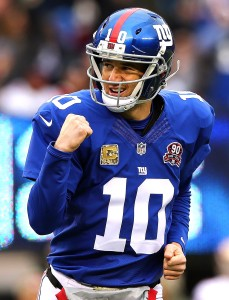 Eli Manning is leading his Giants potentially to the NFC East crown. But the next step is to take on the Eagles on Monday night. (Photo by Elsa/Getty Images)